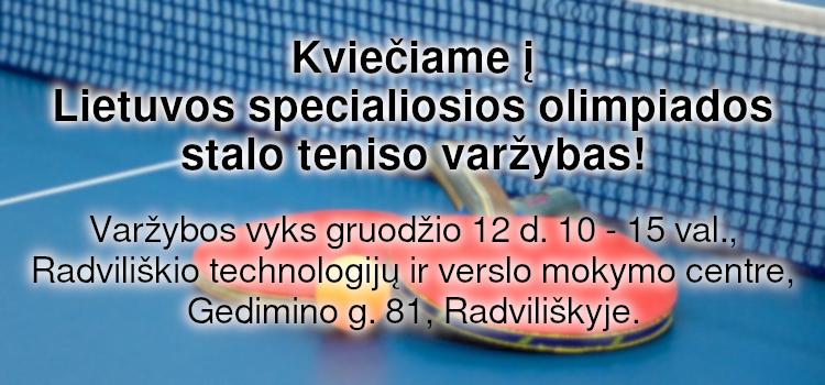 Kviečiame į Lietuvos specialiosios olimpiados stalo teniso varžybas! (nuostatai viduje)