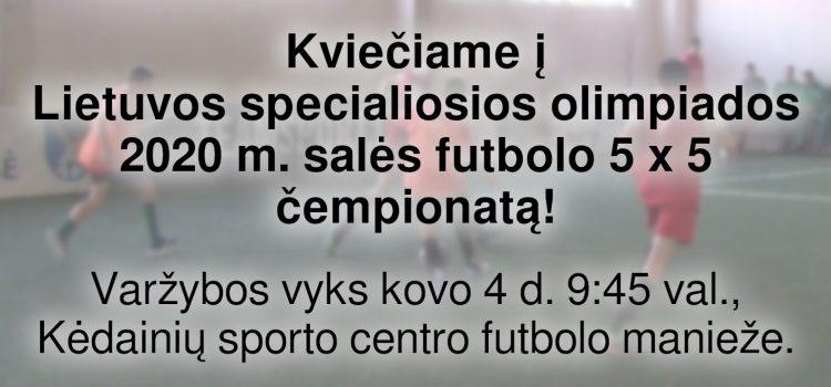 Kviečiame į Lietuvos specialiosios olimpiados 2020 m. salės futbolo 5 x 5 čempionatą! (Nuostatai viduje)